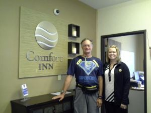 Sarah Ferry, the GM at the Comfort Inn who gave me a comped room for my entire stay.