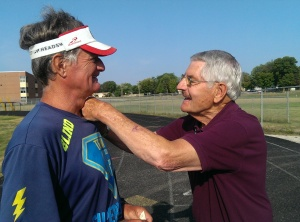 Fergus Falls Mayor Hal Leland gives David a Pin